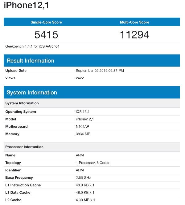 iPhone 11 benchmark gelekt.