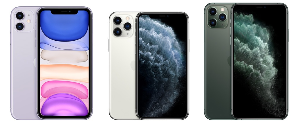 iPhone 11 Pro line-up met schermen.