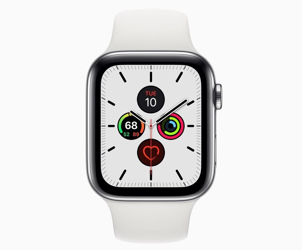 Apple Watch Series 5 met Meridian wijzerplaat in wit.