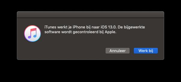 iOS 13 iTunes update.
