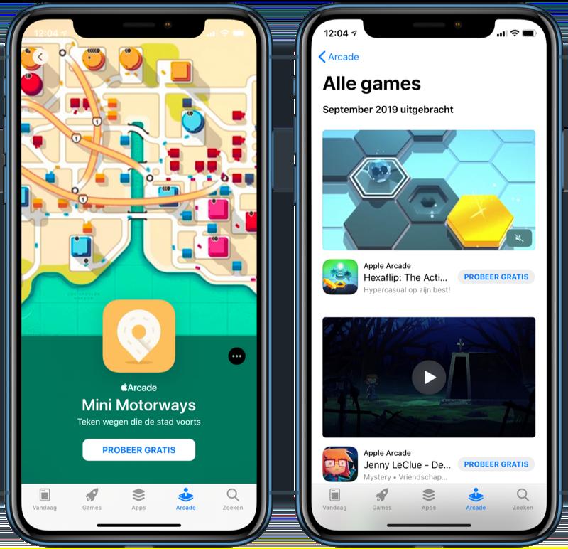 Apple Arcade gamepagina en lijst.