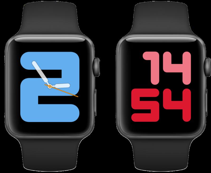 watchOS 6 wijzerplaten Cijfers Mono en Duo.