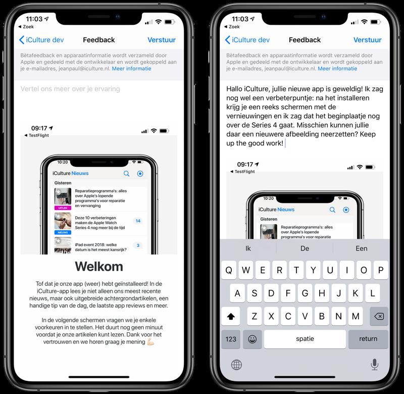 TestFlight feedback met screenshot
