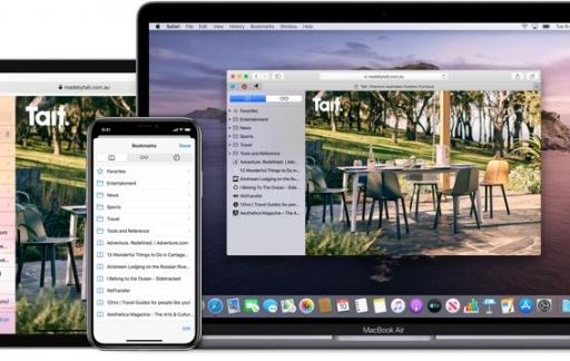 Safari browser op devices: bladwijzers via iCloud.