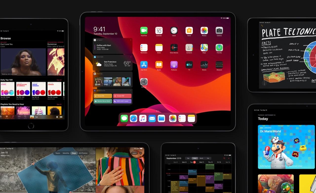 iPadOS 13 in het donker.