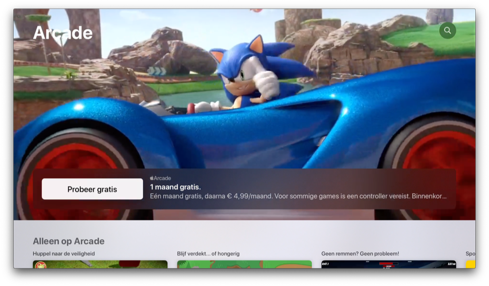Apple Arcade op Apple TV met Sonic.