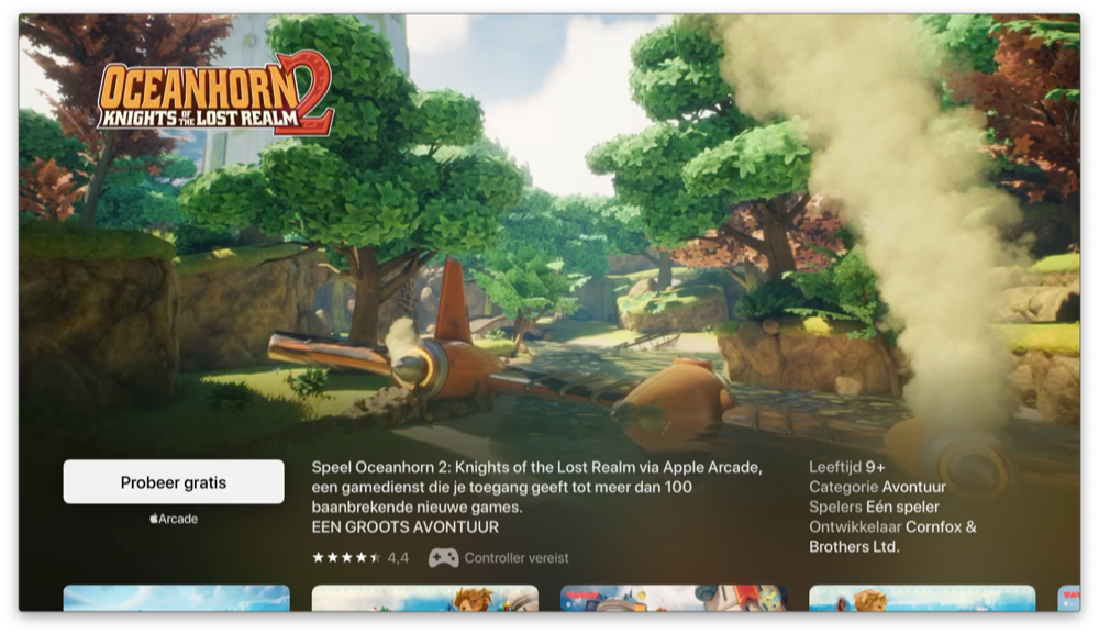 Apple Arcade op Apple TV met Oceanhorn.