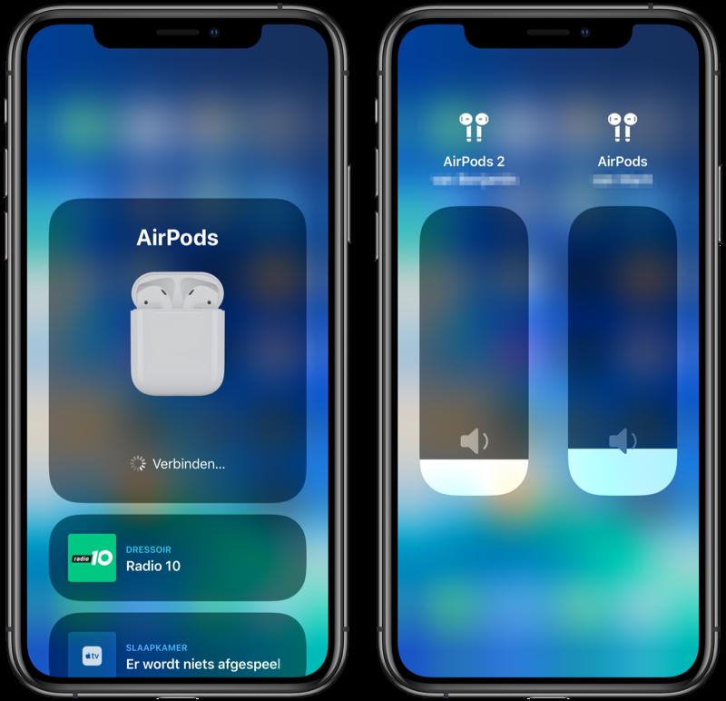 AirPods audio delen volume aanpassen.