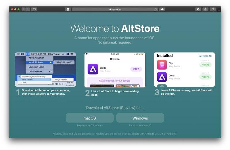 AltStore website