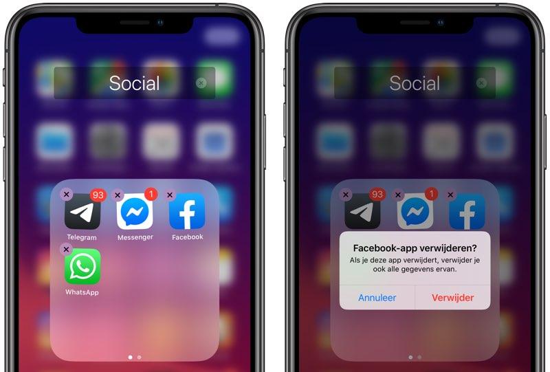 Apps verwijderen met wiebelende iconen