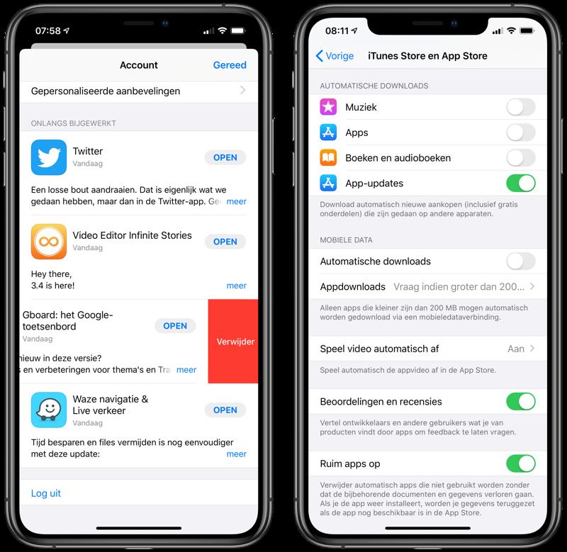 Apps verwijderen automatisch en via update