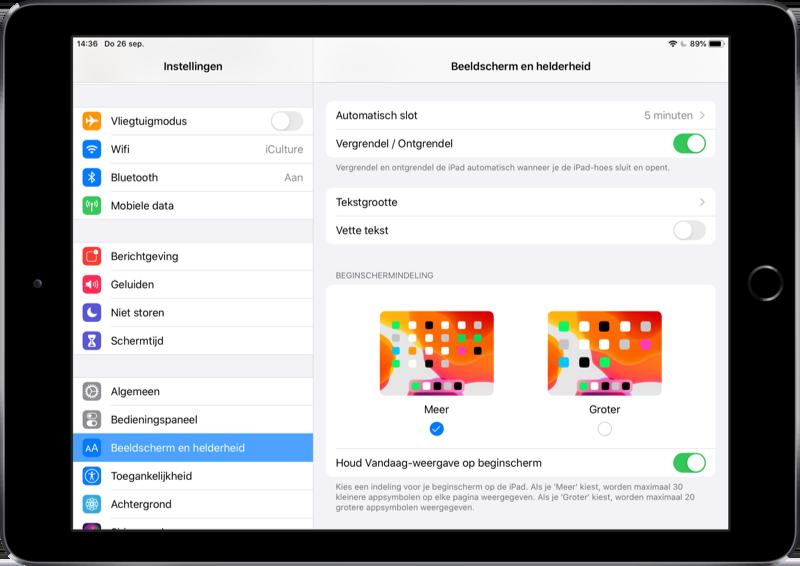iPadOS beginscherm apps formaat aanpassen.