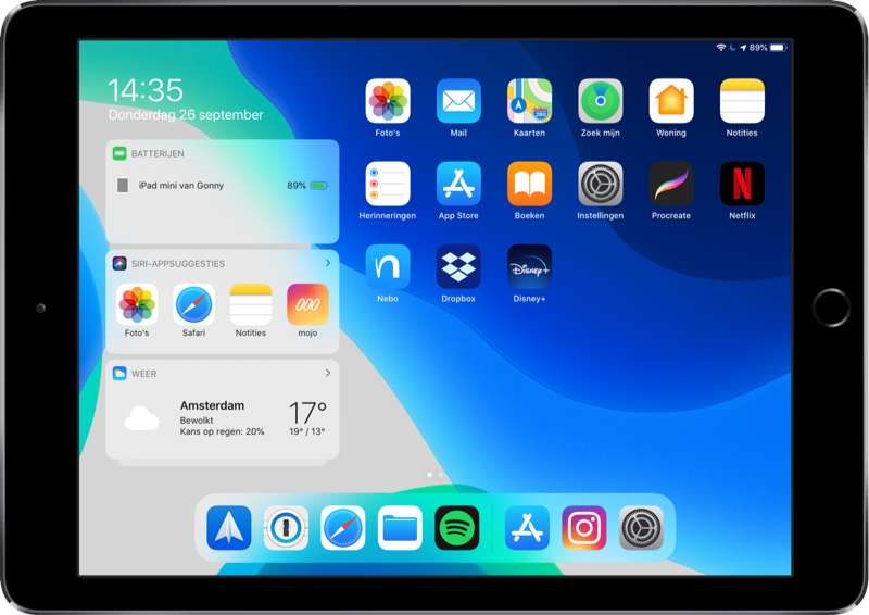 iPadOS beginscherm apps.