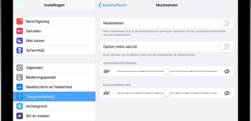 Muisinstellingen iPad
