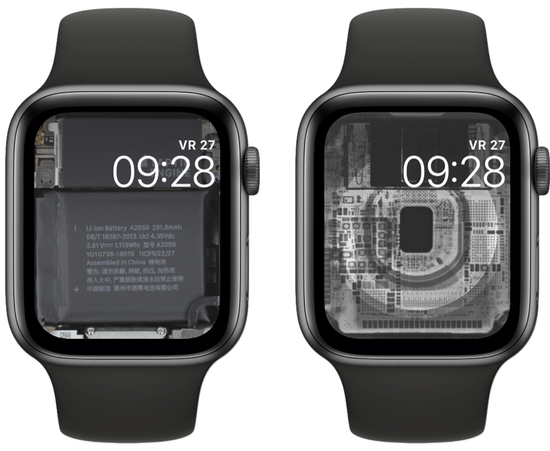 iFixit wallpaper op Apple Watch wijzerplaat.