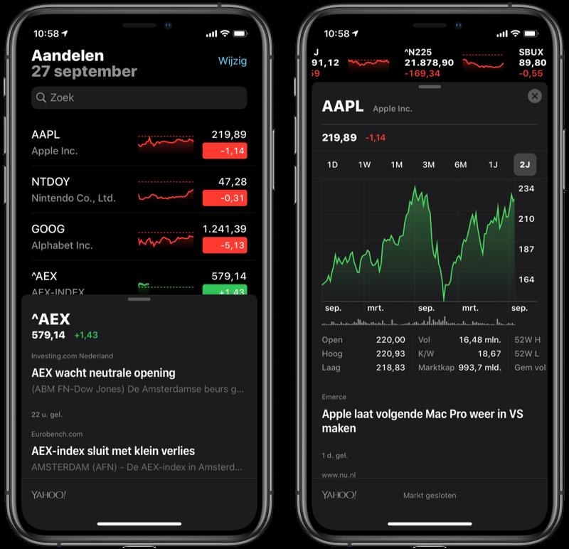 Aandelen-app op iPhone met Apple.