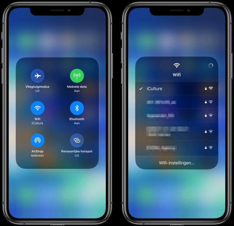 iOS 13 snel verbinden met Wi-Fi.