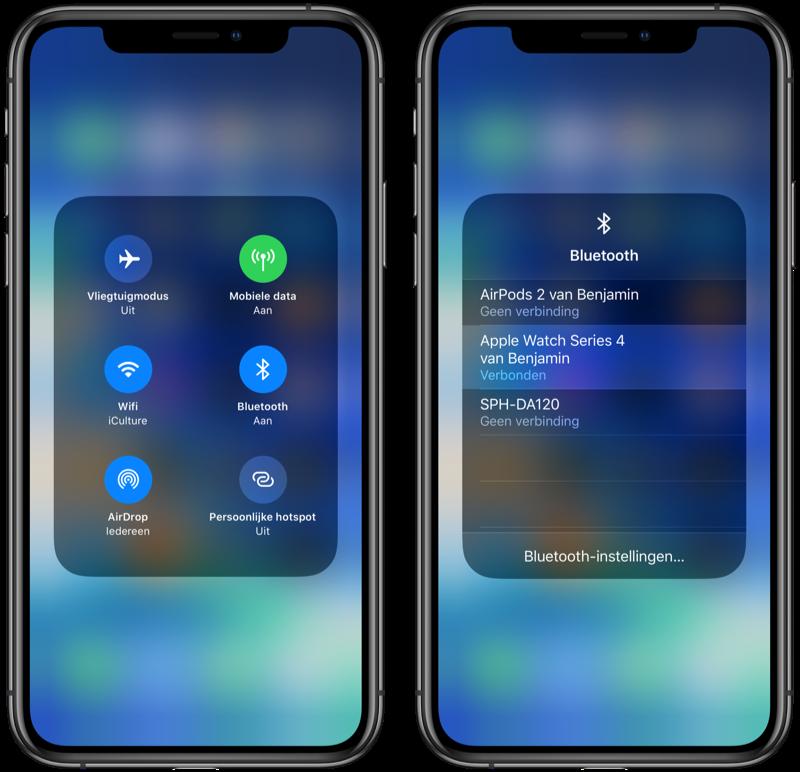 iOS 13 snel verbinden met Bluetooth.