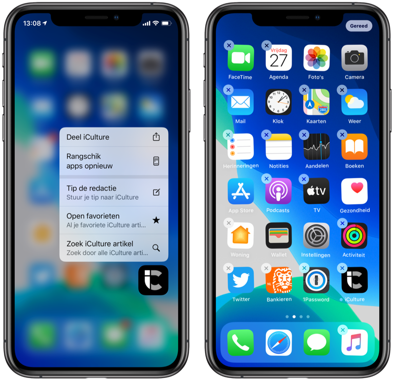 Apps rangschikken op iPhone.