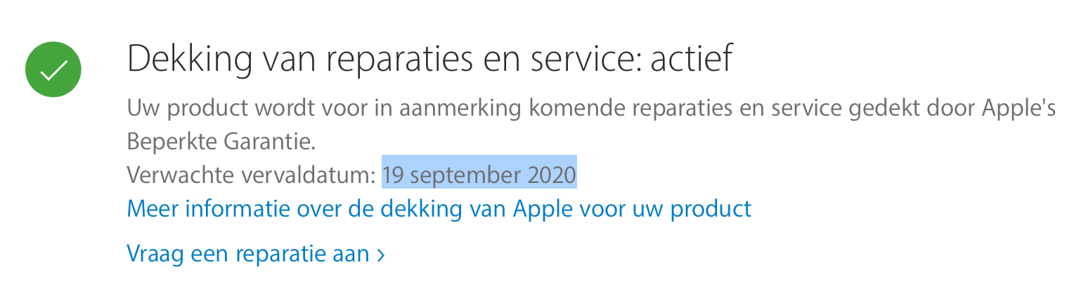 Activeringsdatum Apple producten