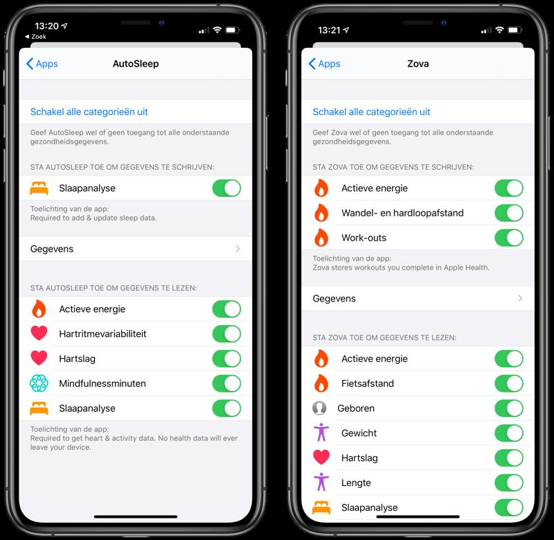 Databronnen Gezondheid-app AutoSleep vs Zova
