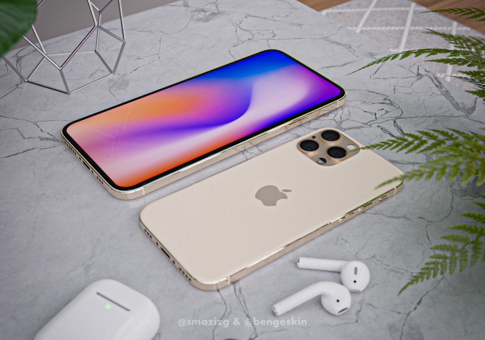 iPhone 2020 design renders in goud.