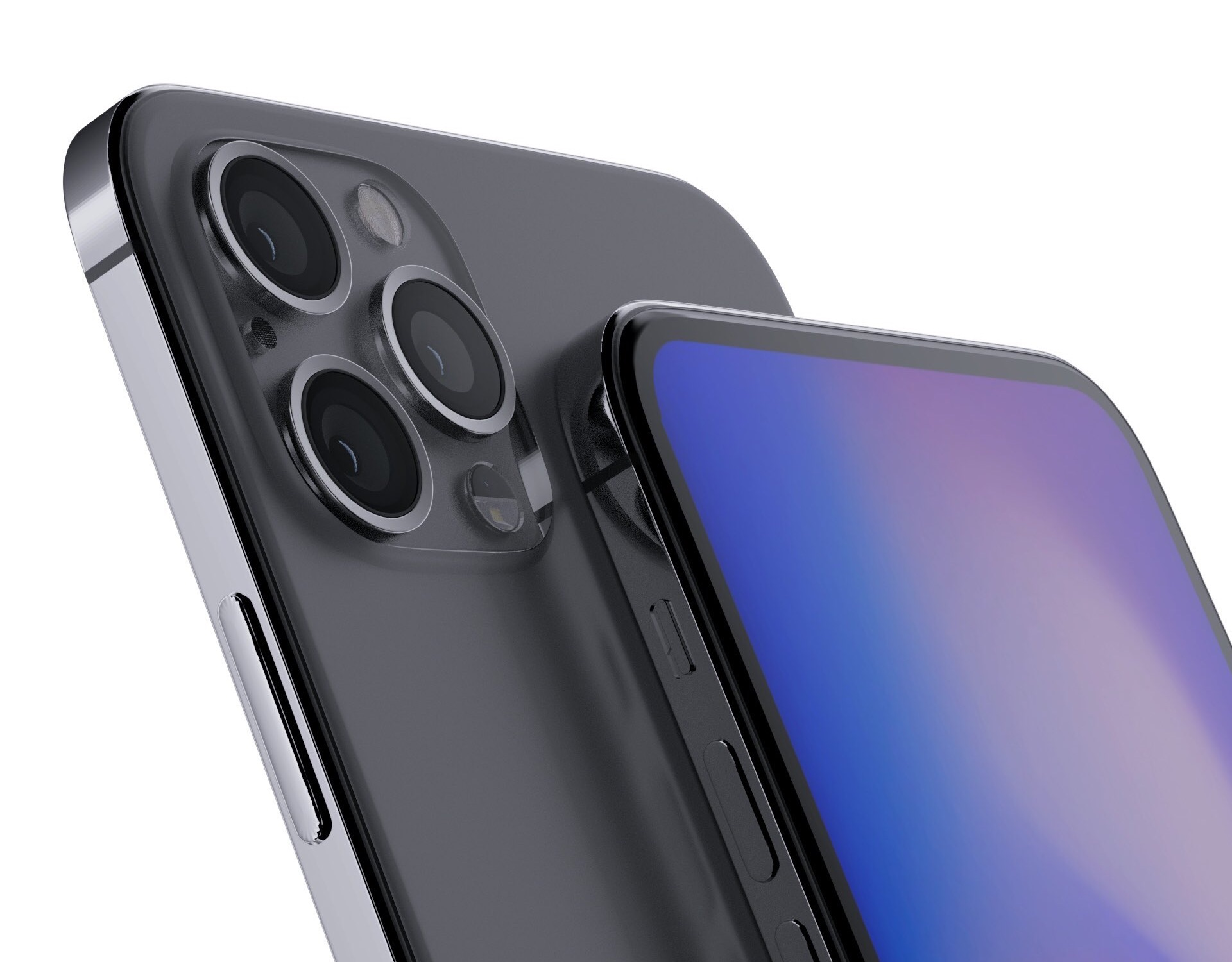 iPhone 2020 design renders in zwart.