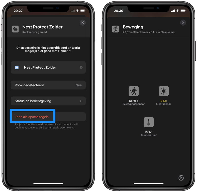 Niet-gegroepeerde tegels in iOS 13.2