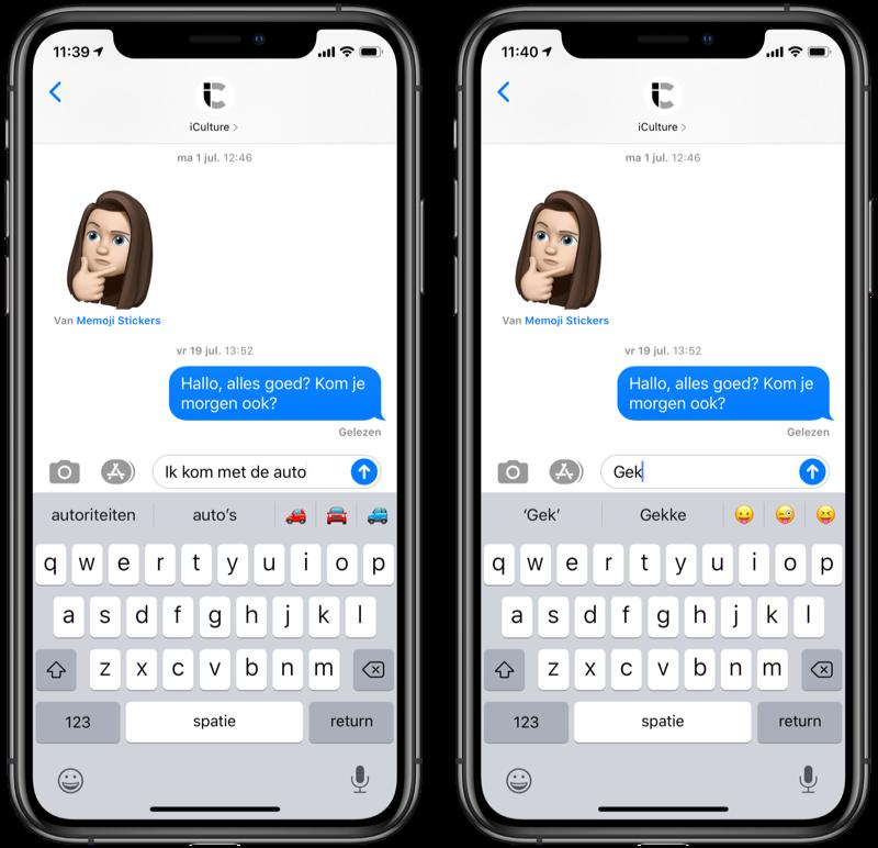 Woordvoorspelling suggesties voor emoji in QuickType.
