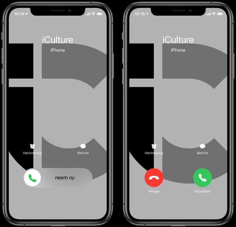 iPhone bellen: inkomende gesprekken beantwoorden met knoppen of vegen.