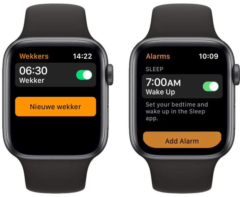 Verwijzing naar Slaap-ap in Apple Watch Wekkers-app.