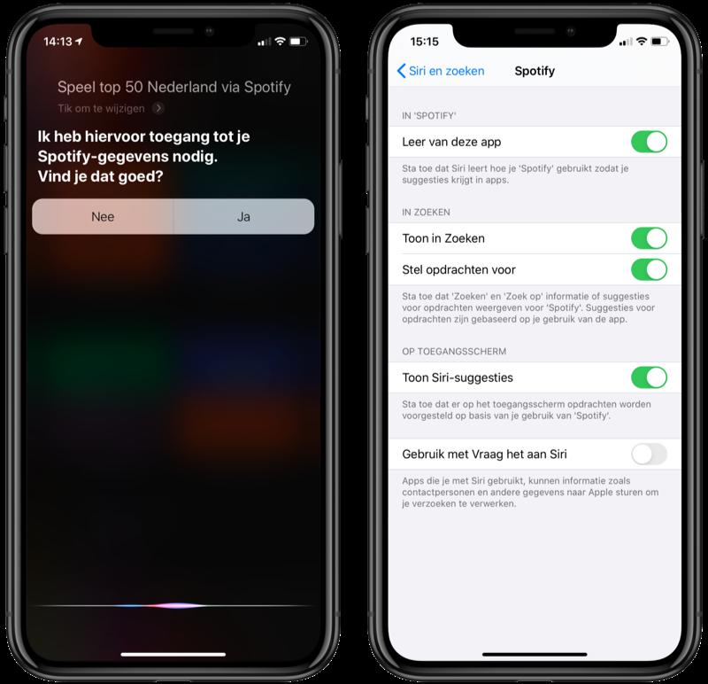 Spotify met Siri instellen.