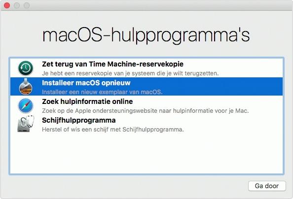 macOS Hulpprogramma's Recovery.