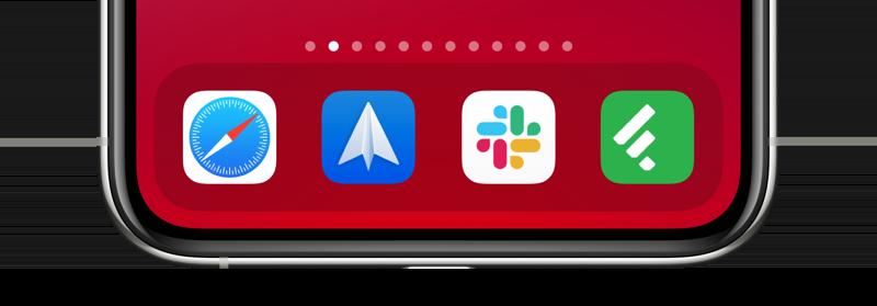 iPhone dock met iconen