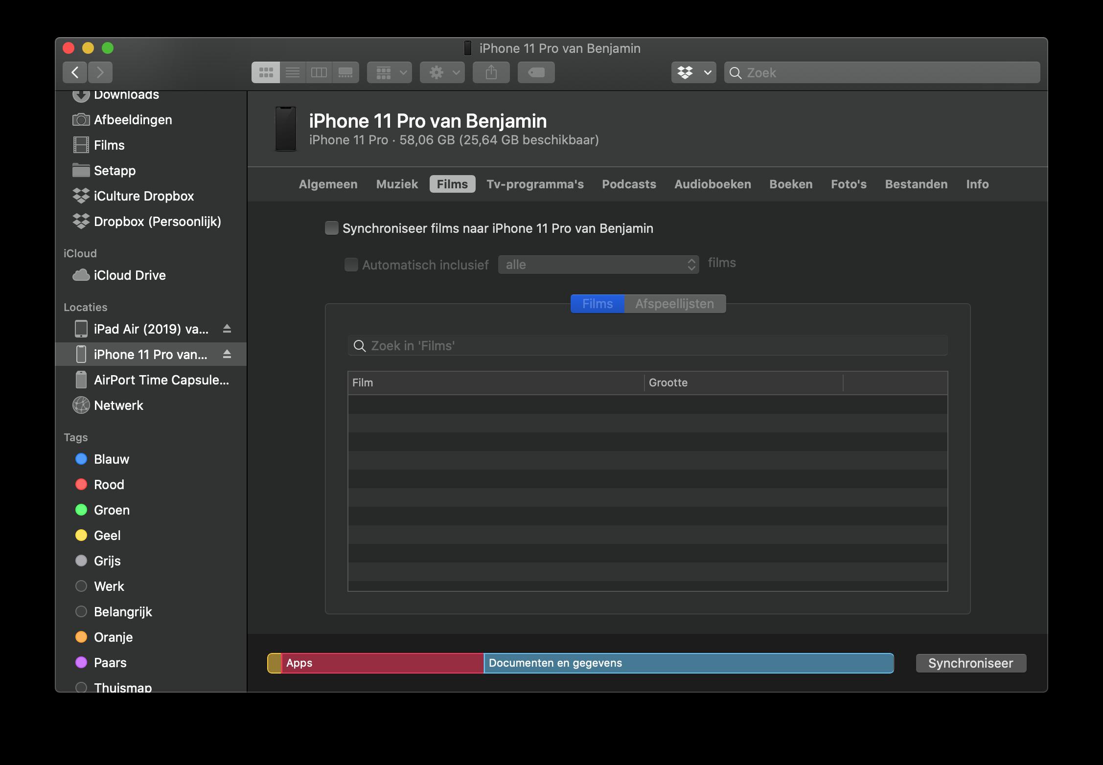 Films synchroniseren met iPhone en Mac.