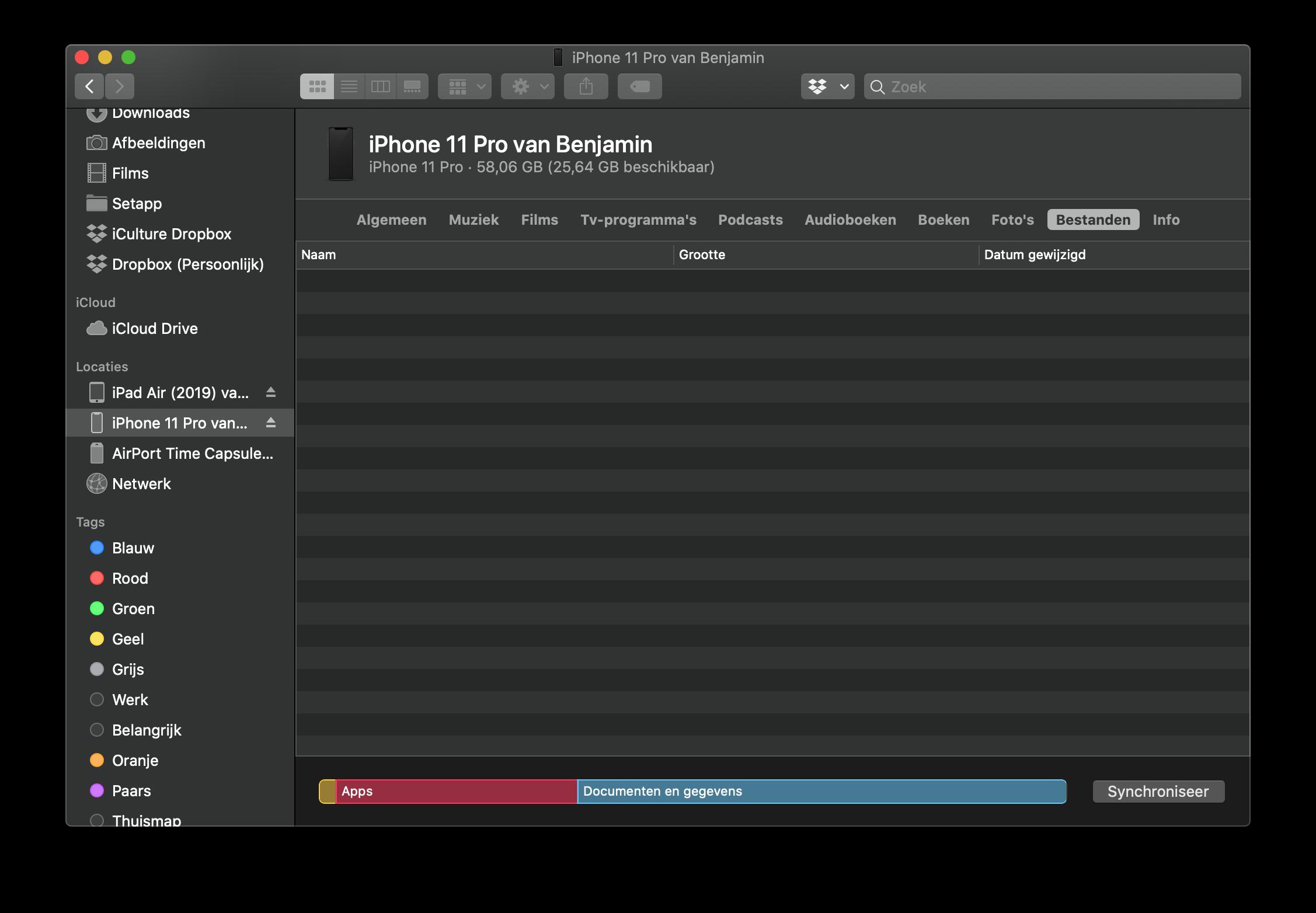 Bestanden synchroniseren met iPhone en Mac.