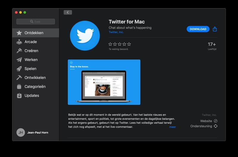 Twitter voor Mac terug op de desktop