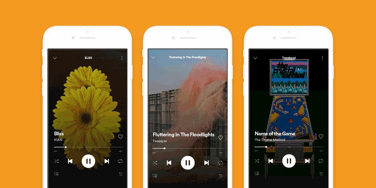 Spotify Canvas met drie iPhones
