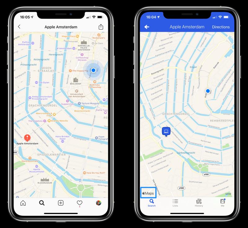 Apple Kaarten in apps van derden
