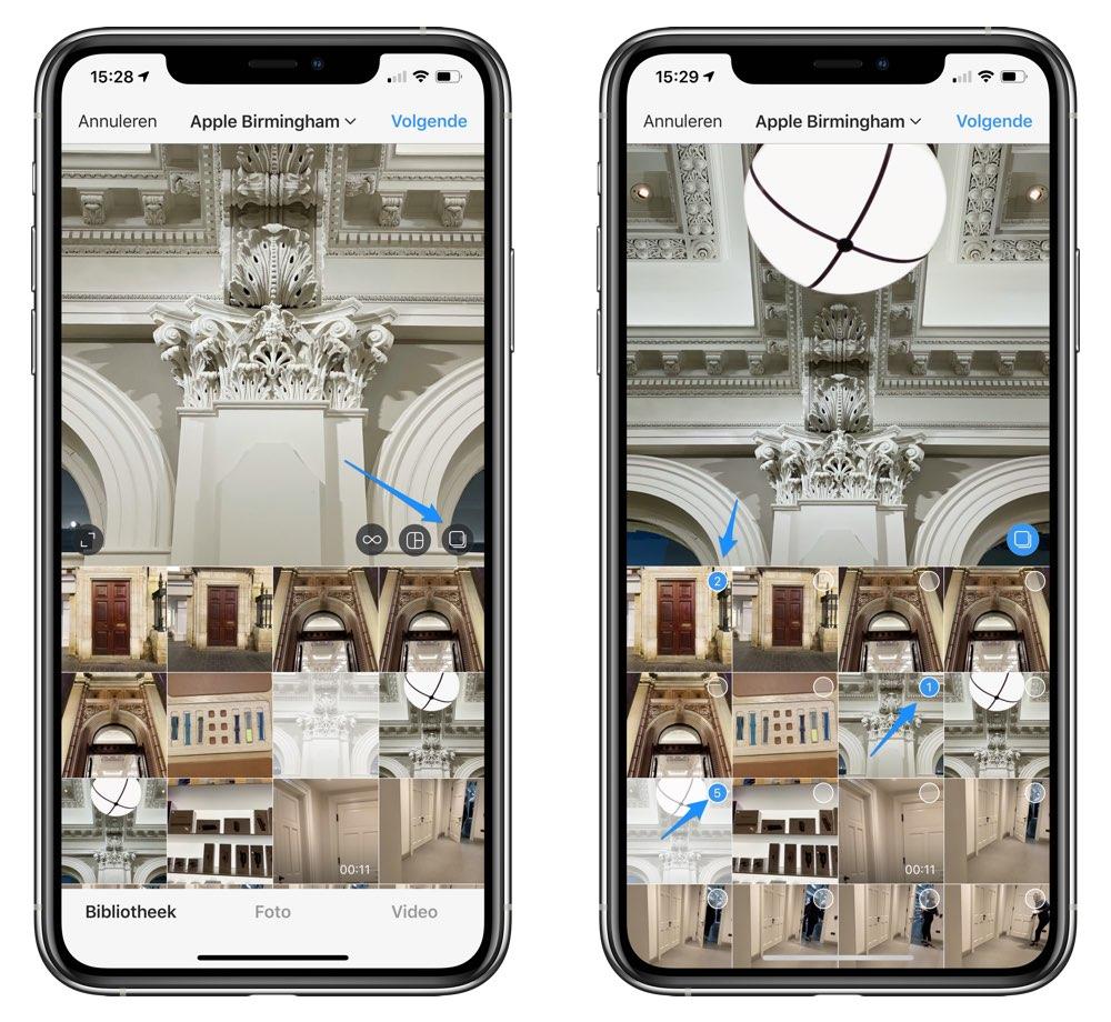 Instagram meerdere filters selecteren