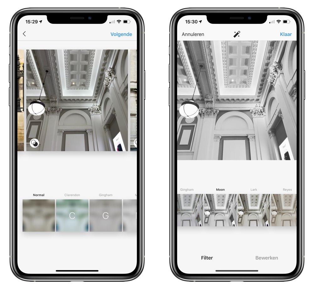 Instagram filters toepassen op meerdere foto's