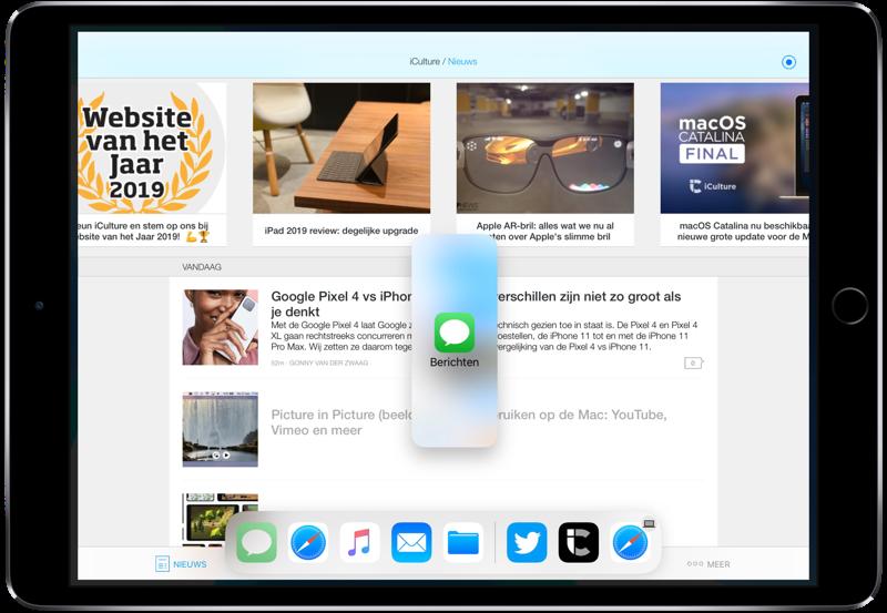 iPad Slide Over met Berichten.