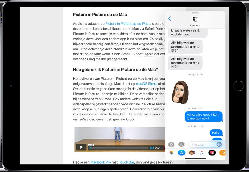 iPad Slide Over met chat uit Berichten.