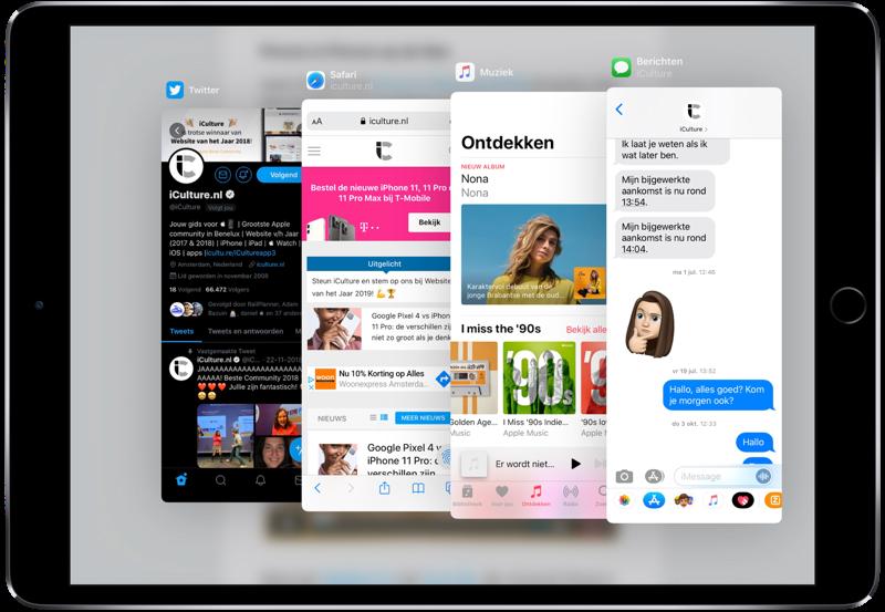 Appkiezer van iPad Slide Over apps.
