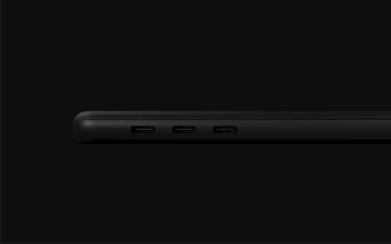 MacBook Pro 16-inch concept vanaf de zijkant.