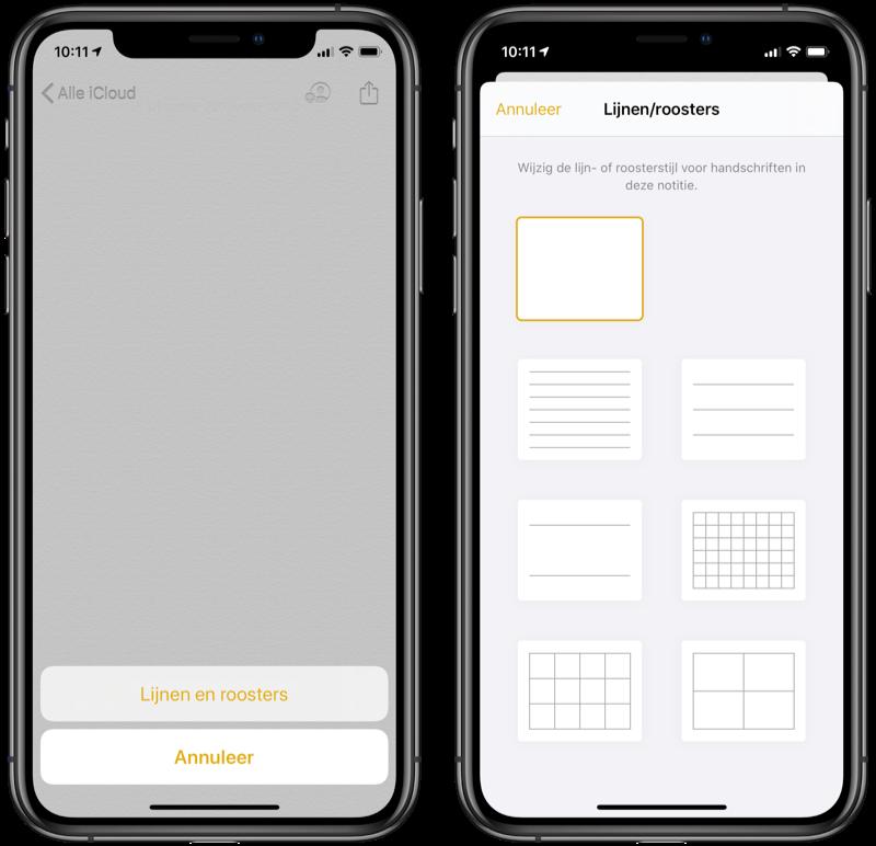 Notities lijnen en ruitjespapier op de iPhone.