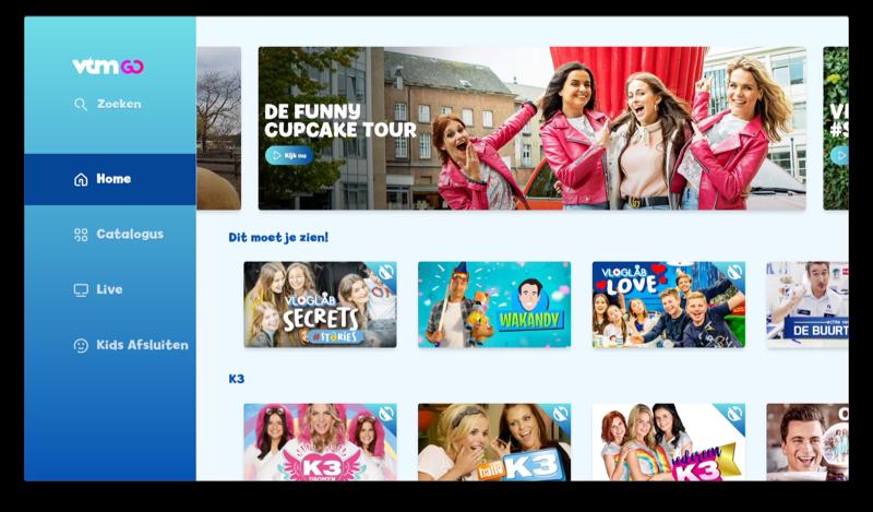 VTM GO op Apple TV met kids omgeving.
