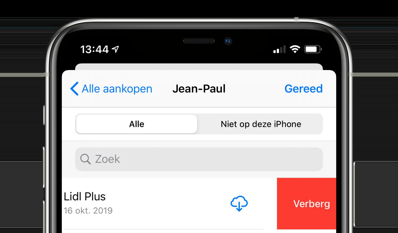 App Store aankopen verbergen