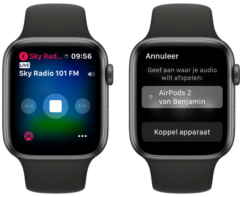 Apple Watch radio luisteren.