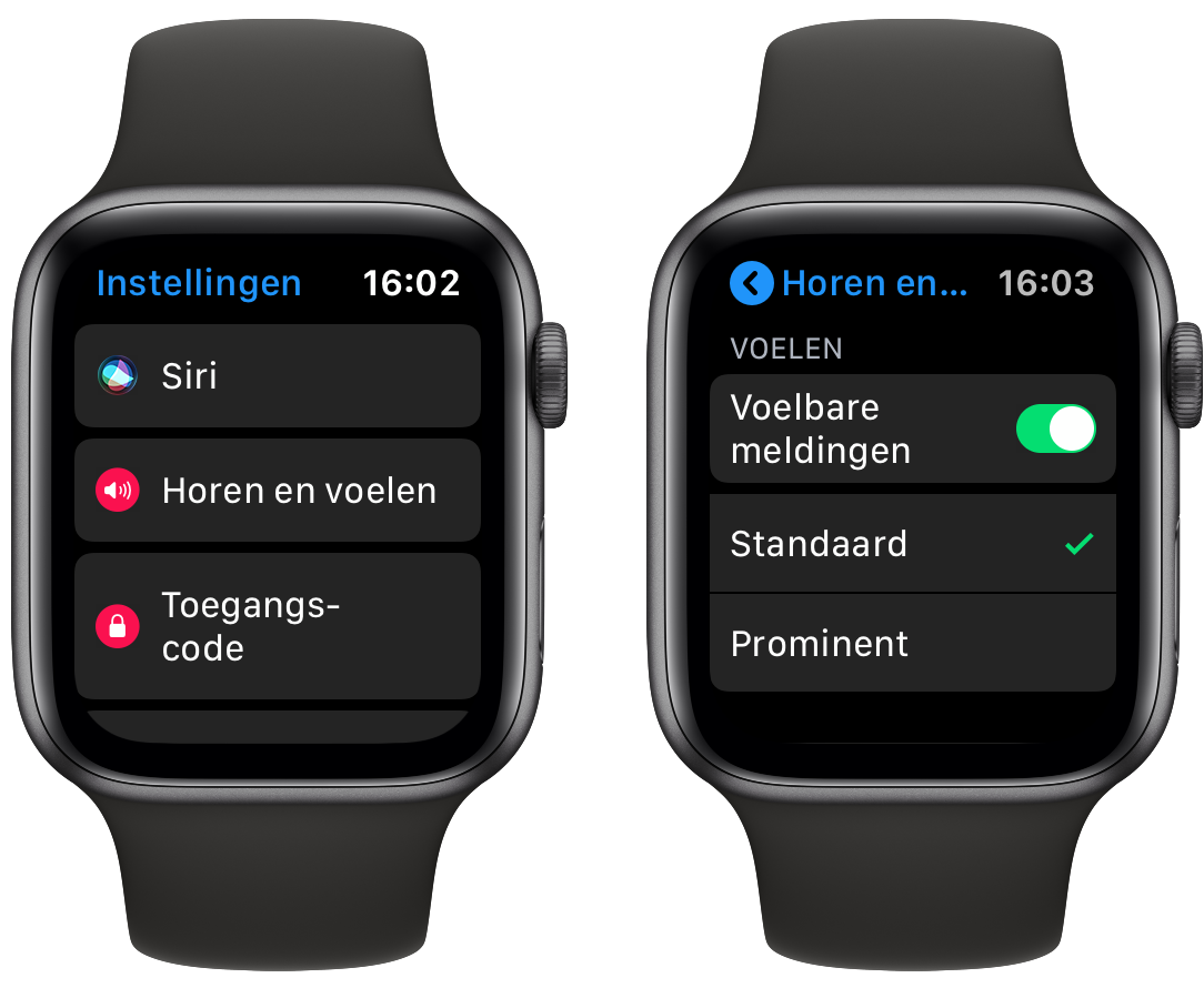 Apple Watch voelbare meldingen prominent maken